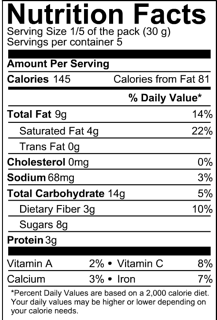 Coconut barque nutritional info