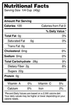 dried cranberries nutritional info