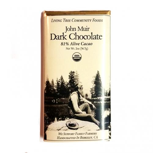 John Muir dark chocolate bar